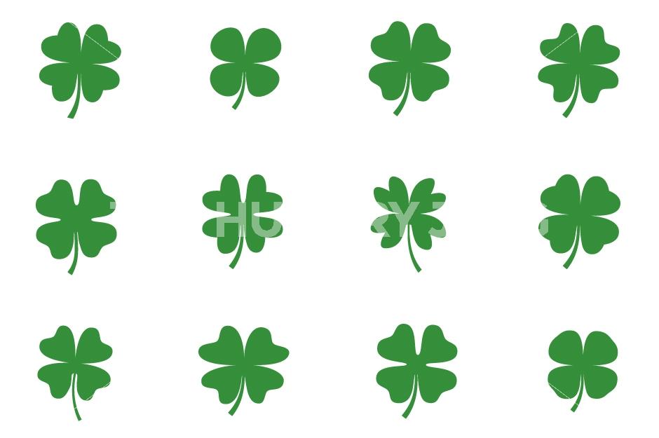 940x625 Cute Green Four Leaf Clover Clipart Set, Lucky Shamrock Clip Art