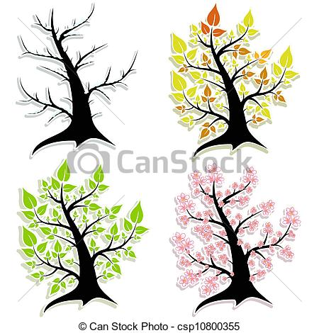 450x470 Four Of The Tree. Seasonssummer, Winter, Spring, Autumn Clipart
