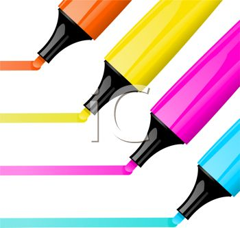 350x333 Picture Of Four Colorful Felt Markers Drawing A Line In A Vector