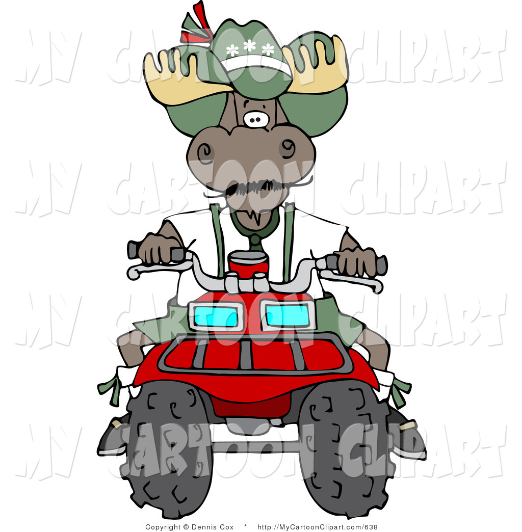 1024x1044 Clip Art Of A Brown Bull Moose Operating A Recreational Atv Four