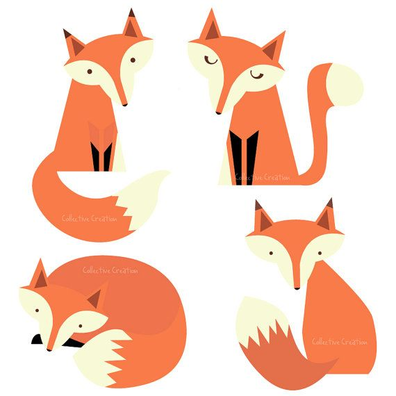 570x570 Fox Family Digital Clipart Clip Art For By Collectivecreation