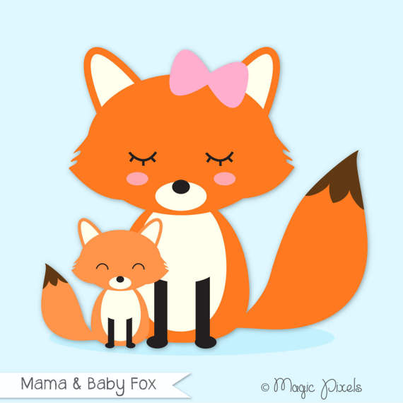 570x570 Fox Clip Art Mama And Baby Fox Clipart Forest Animals Clip