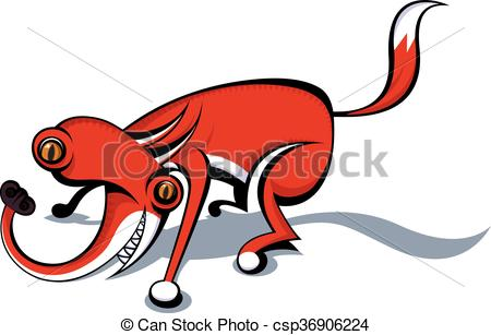 450x307 Totally Crazy Fox. Vector Image Vector Illustration
