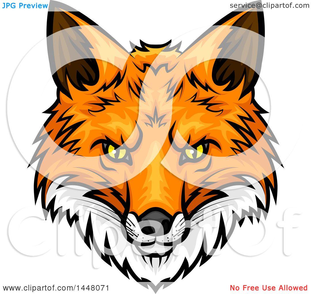 1080x1024 Clipart Of A Vicious Fox Mascot Face