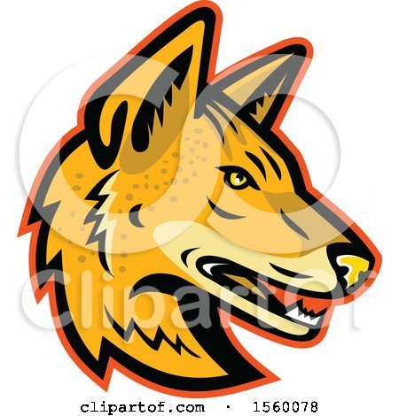 450x470 Clipart Of A Maned Wolf Mascot Head Facing Right