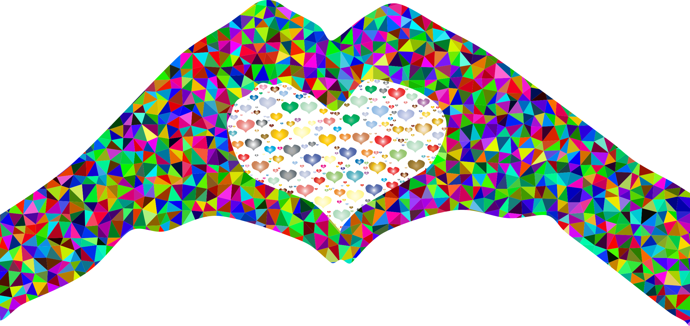 2400x1136 Low Poly Prismatic Fractal Heart Hands Silhouette 2 Icons Png
