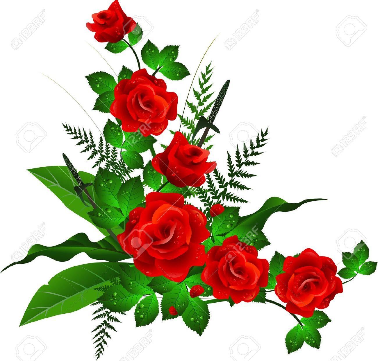 1300x1243 Red Flowers Clip Art Border