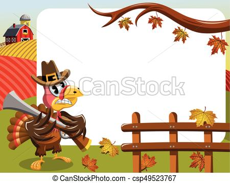 450x357 Thanksgiving Day Horizontal Frame Pilgrim Angry Turkey Clip Art
