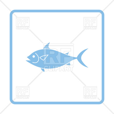 400x400 Blue Frame Design Of Fish Icon Royalty Free Vector Clip Art Image