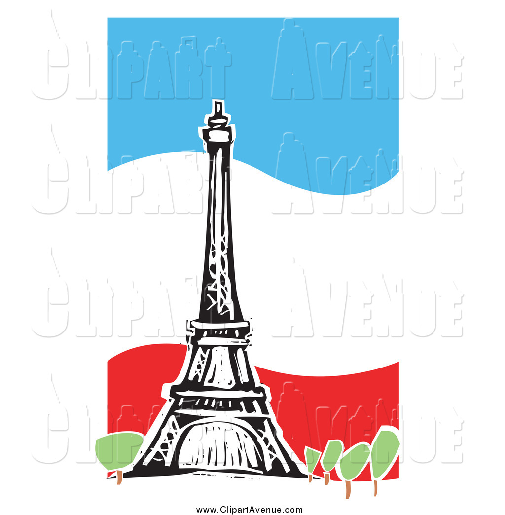 1024x1044 Avenue Clipart Of A The Eiffel Tower Over A Wavy French Flag By