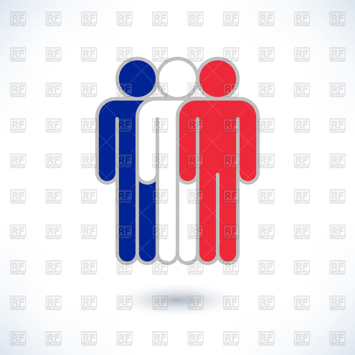1200x1200 Pictogram Of Three Men In Colours Of France Flag Royalty Free