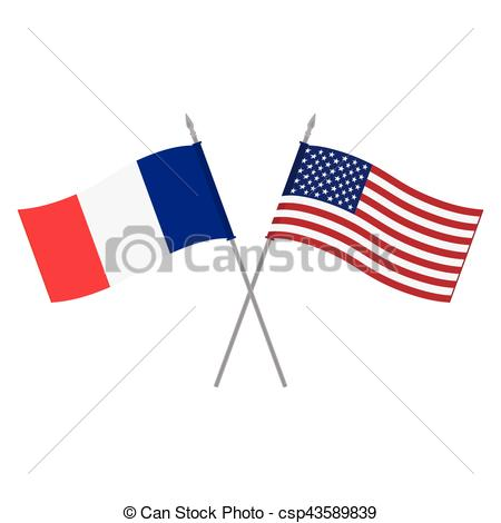 450x470 Usa And France Flags. Vector Illustration American And Vectors