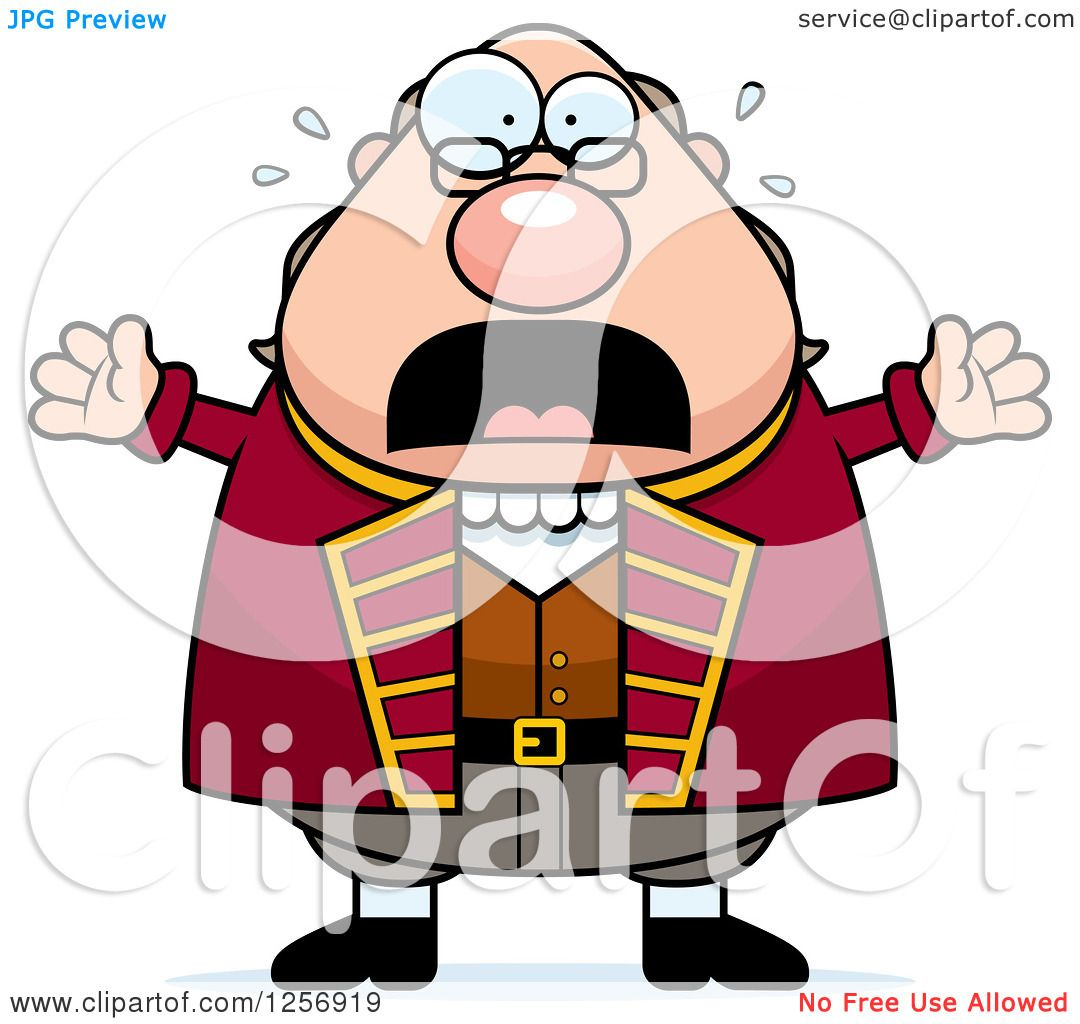 1080x1024 Clipart Of A Scared Screaming Chubby Benjamin Franklin