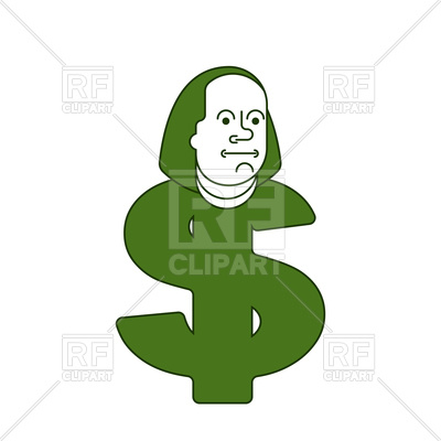 400x400 Portrait Of Benjamin Franklin On Dollar Sign Royalty Free Vector