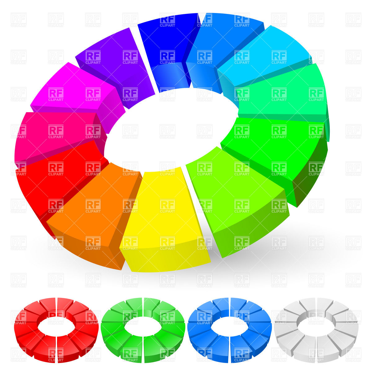 1200x1200 3d Rainbow Pie Chart Royalty Free Vector Clip Art Image 7809