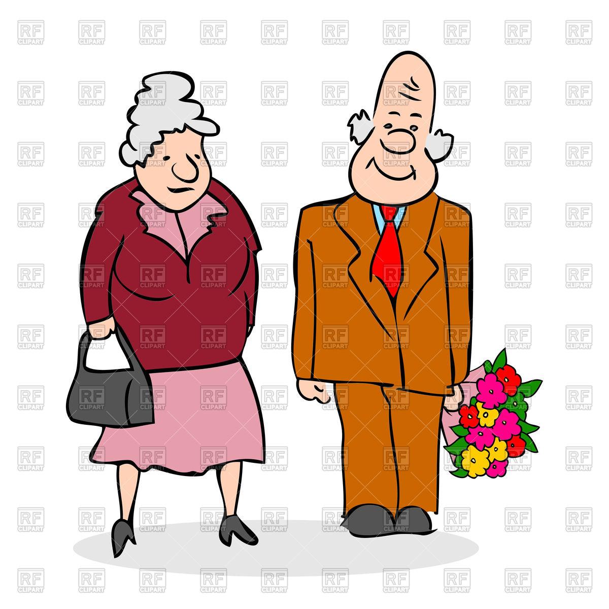 1200x1200 Happy Elderly Couple Royalty Free Vector Clip Art Image