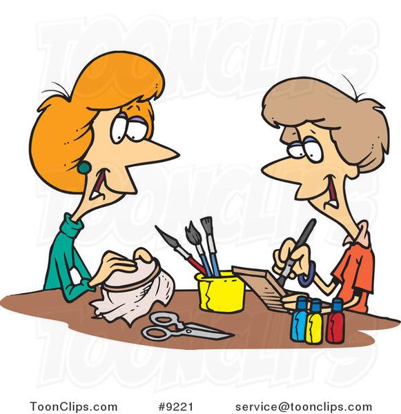 581x600 Royalty Free (Rf) Clip Art Illustration Of Cartoon Women Doing