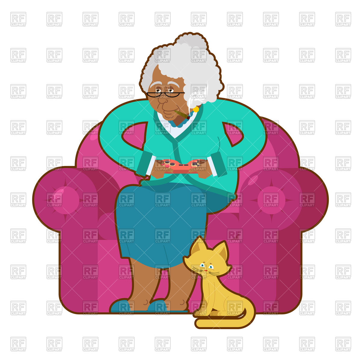 1200x1200 African American Grandmotherd Joystick. Old Woman On