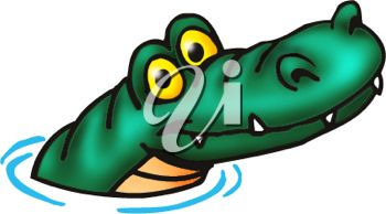350x194 Picture of a Cartoon Alligator Coming Out of the Water In a Vector