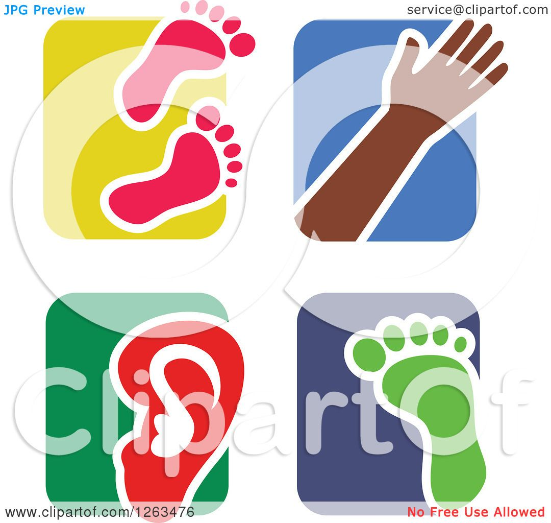 1080x1024 Clipart Of Colorful Tile And Human Anatomy Icons