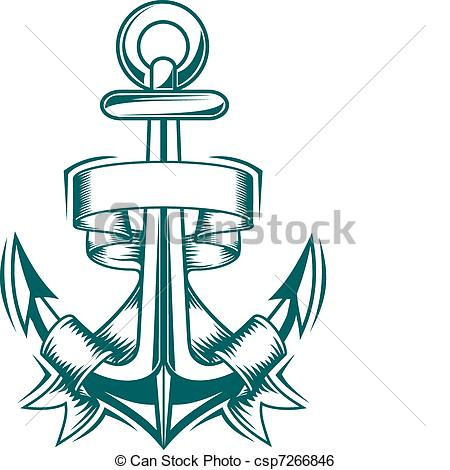 450x470 Ancient Anchor With Ribbons For Heraldic Design Clip Art Vector