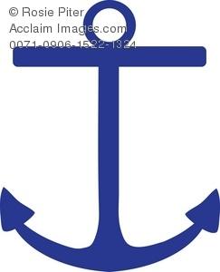 243x300 Clip Art Illustration Of A Dark Blue Boat Anchor