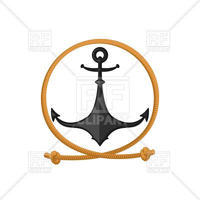 400x400 Rope And Anchor Emblem Royalty Free Vector Clip Art Image