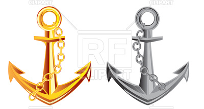 400x215 Anchor From Gold And Metal Royalty Free Vector Clip Art Image