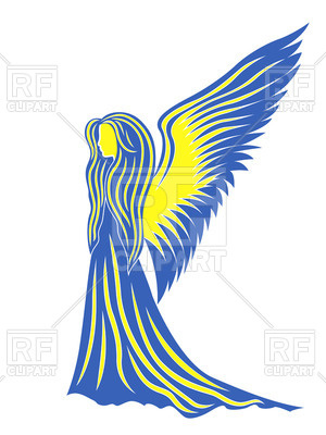 300x400 Profile Of Woman Angel In Colors Of Flag Of Ukraine Royalty Free