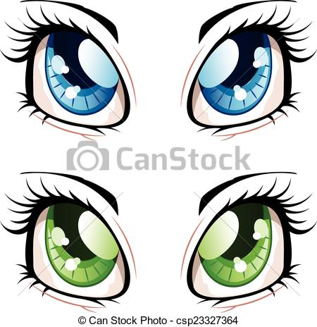 450x464 Set of manga, anime style eyes of different colors. clip art