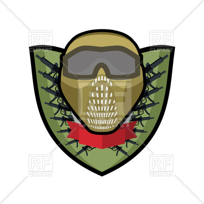 400x400 Paintball Emblem. Army Sign. Helmet And Weapons. Royalty Free