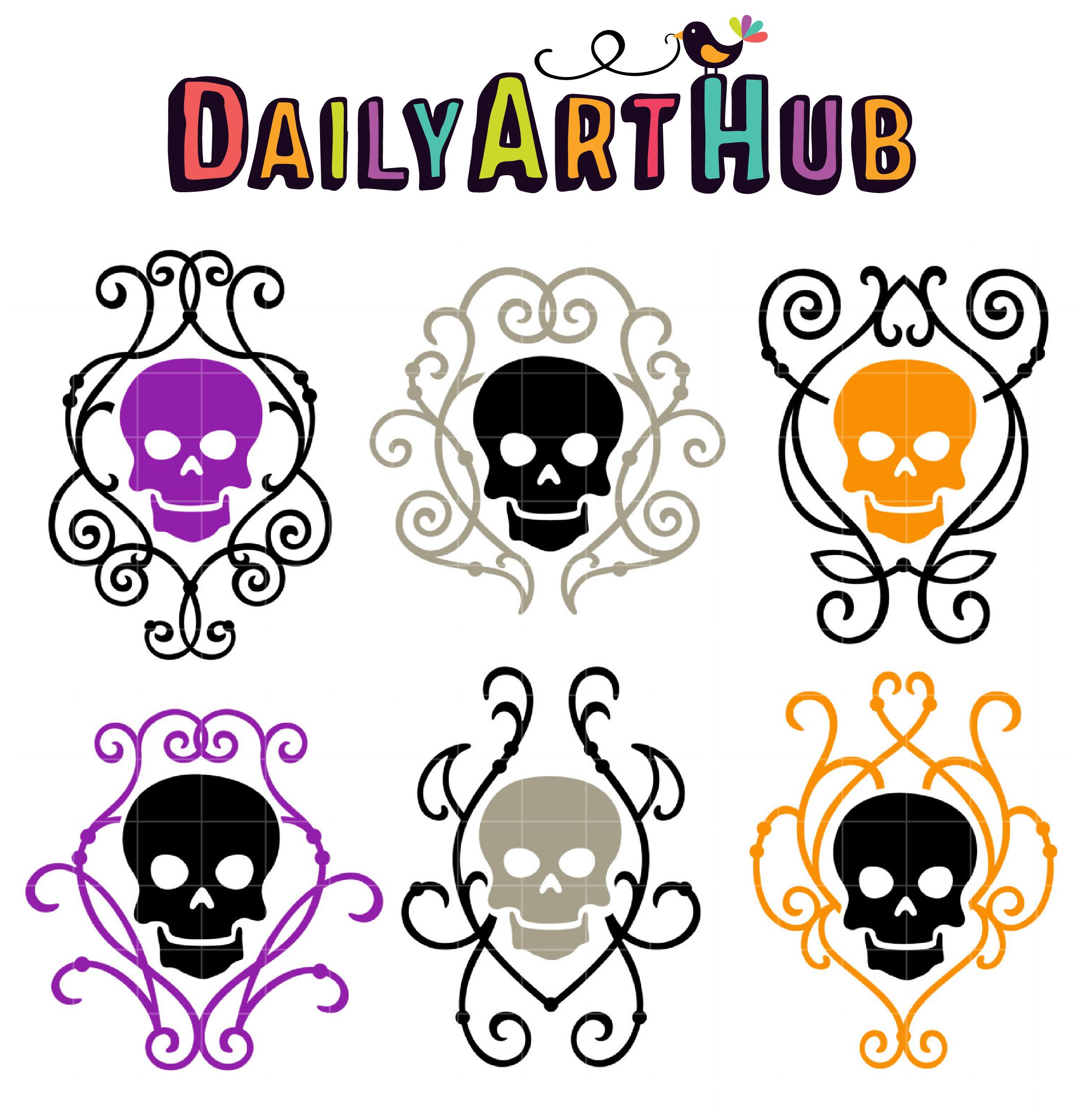 2421x2500 Deco Skulls Clip Art Set Daily Art Hub Free Clip Art Everyday