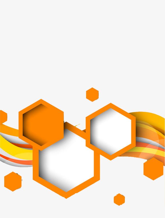 650x859 Orange Art Deco Picture Material, Geometric Shape, Hexagon