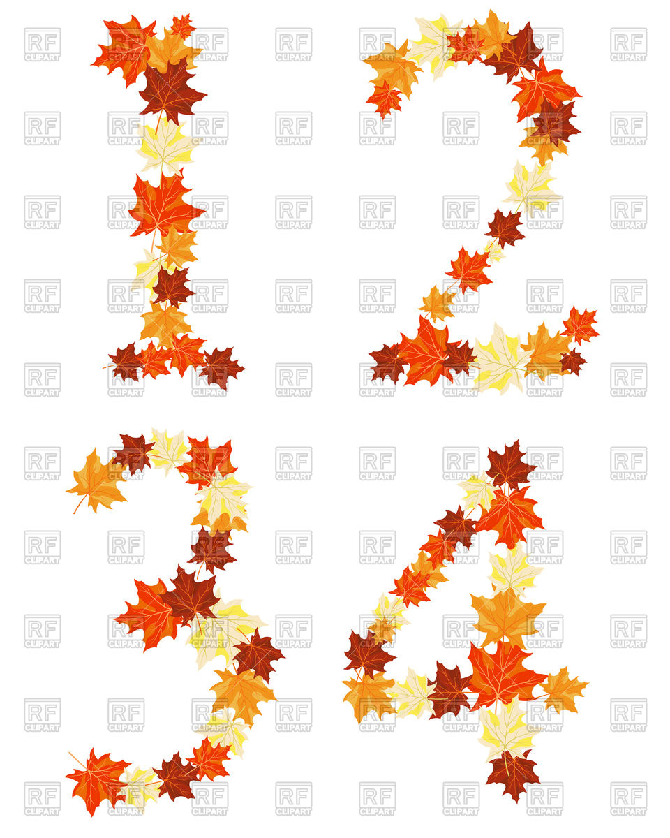 960x1200 Autumn Maples Leaves Numbers Royalty Free Vector Clip Art Image