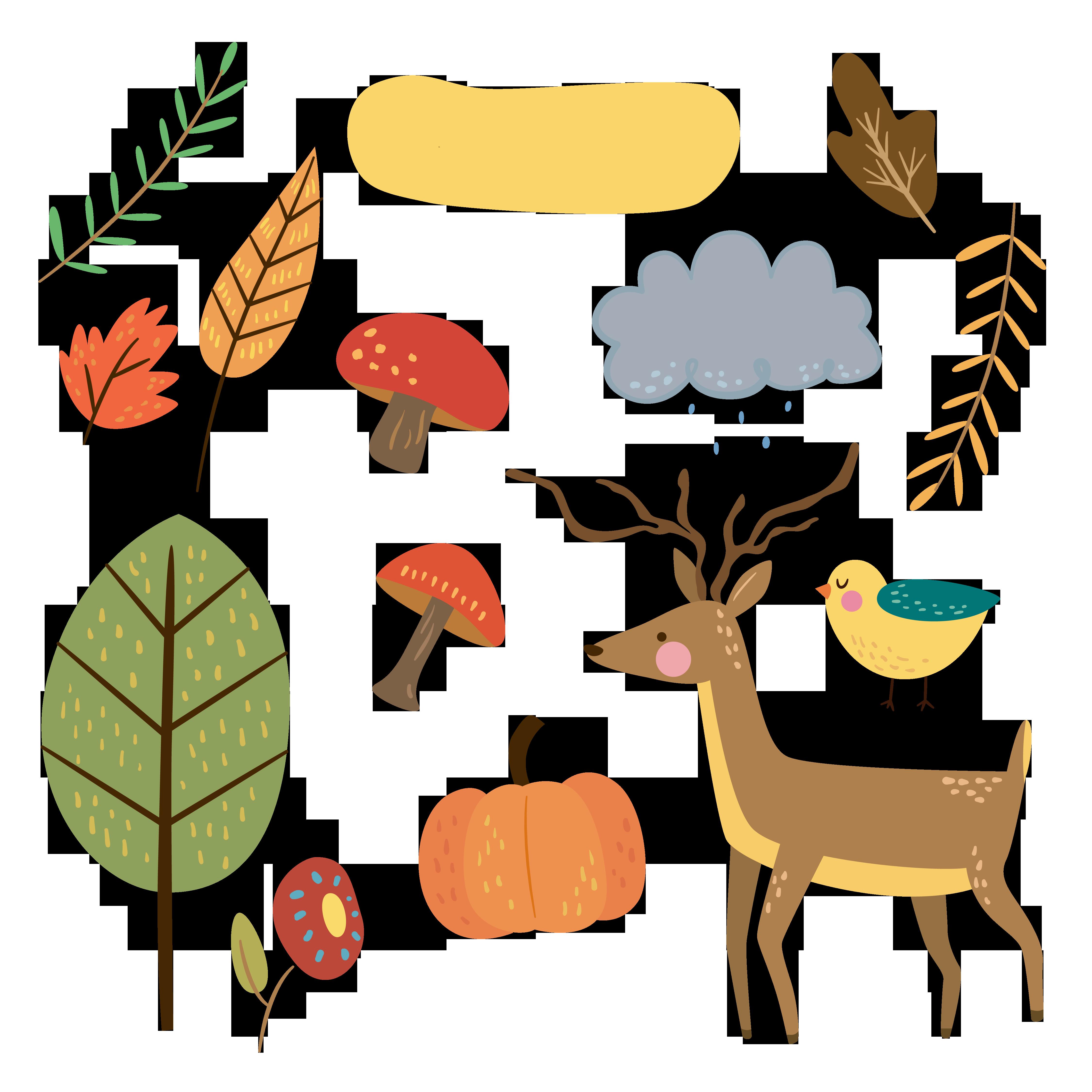 4500x4500 Free Cute Animal Autumn Clipart Fptfy 2.png Pixels