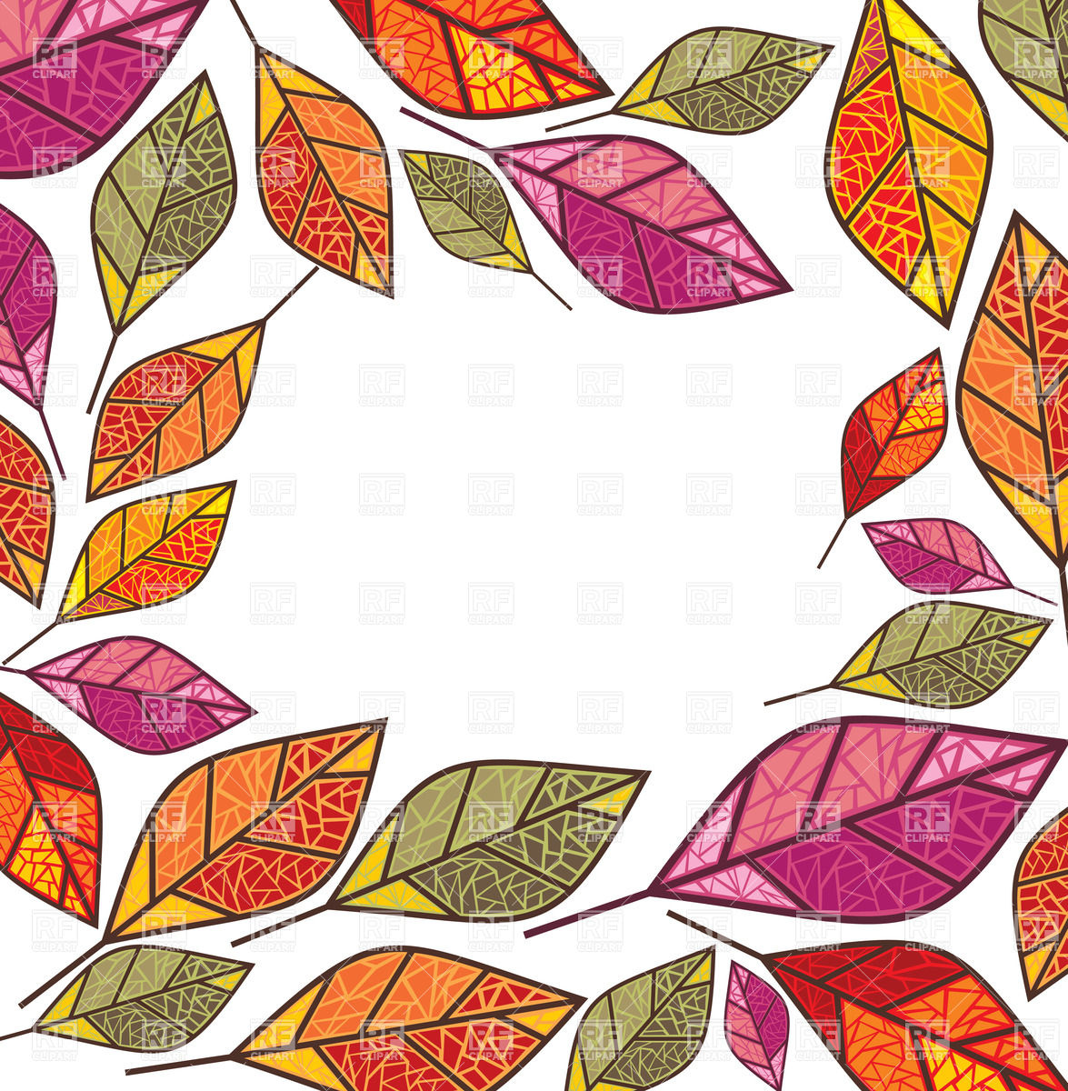 1175x1200 Ornate Autumn Frame Made Of Dry Leaves Royalty Free Vector Clip