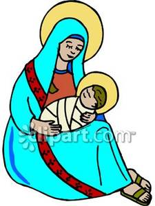 225x300 Mary And Baby Jesus With Halos