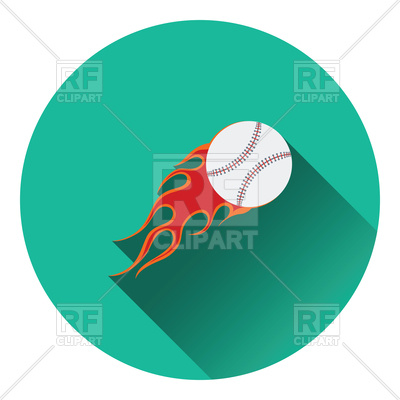 400x400 Flat Color Design Of Baseball Fire Ball Icon Royalty Free Vector