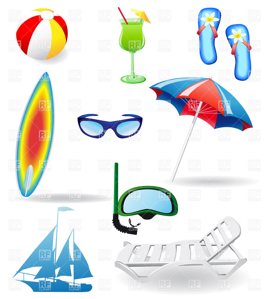 1067x1200 Beach Rest And Vacation Objects Royalty Free Vector Clip Art Image