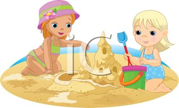 350x211 Two Little Girls Making A Sandcastle On The Beach