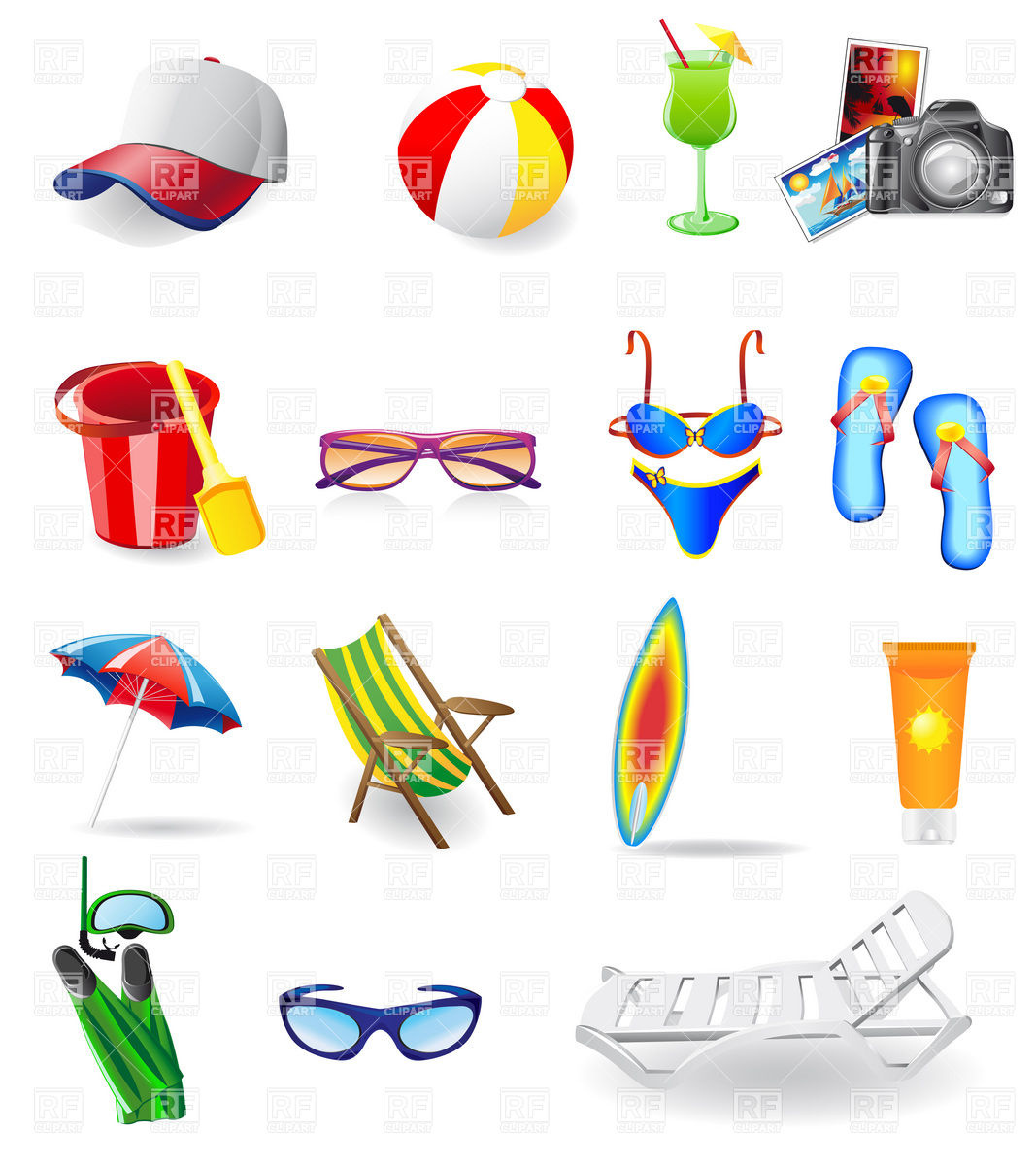 1067x1200 Vacation Resort And Beach Relaxation Icons Royalty Free Vector