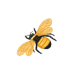 300x300 Retro Honey Bee Clipart Free