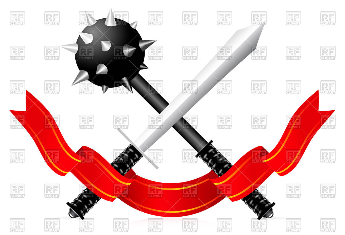 1200x818 Sword And Mace With Ribbon Royalty Free Vector Clip Art Image
