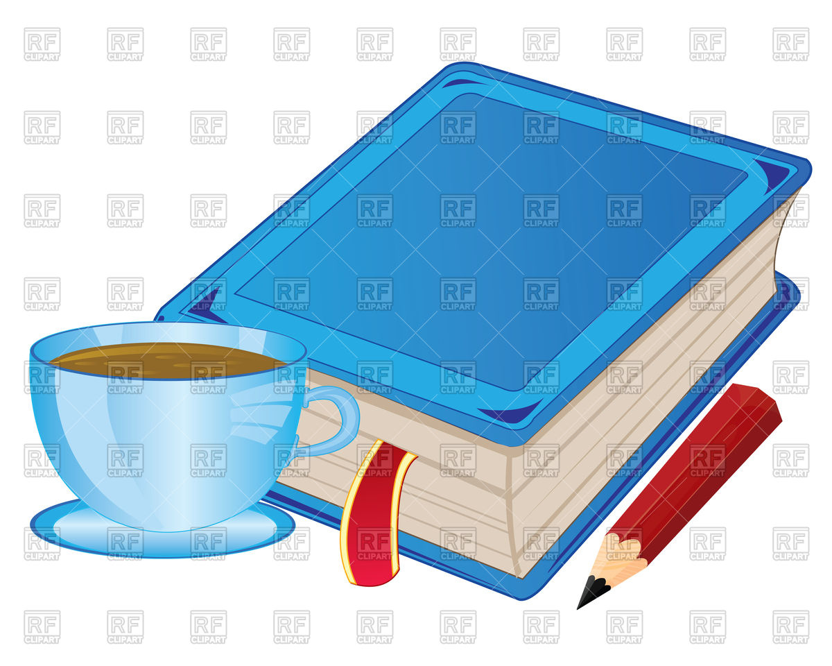 1200x960 Cup Of Coffee And Book With Bookmark Royalty Free Vector Clip Art