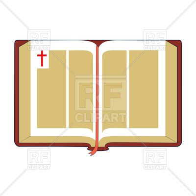 400x400 Open Bible With Brown Cover And Red Bookmark Royalty Free Vector
