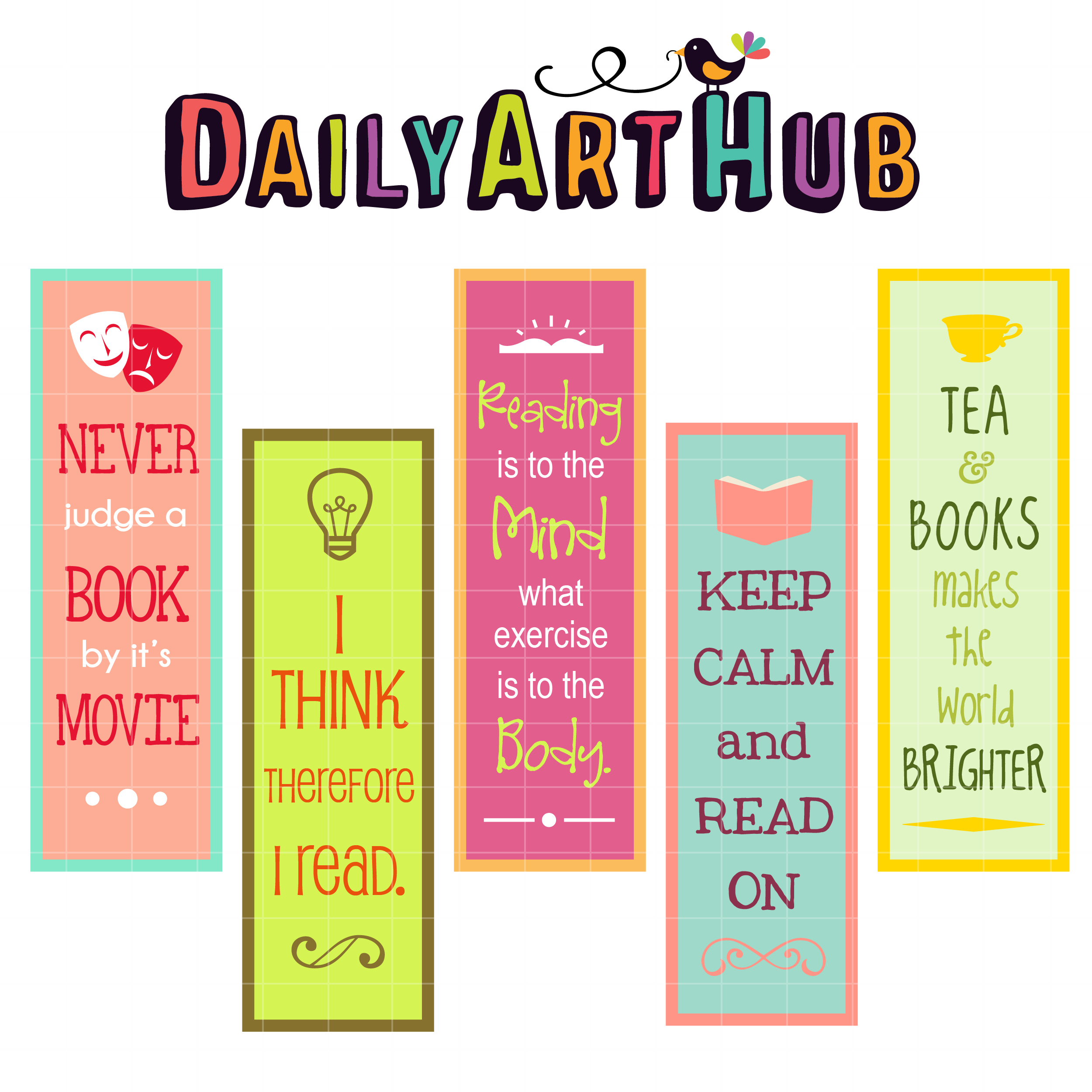 2500x2500 Reaading Quotes Bookmarks Clip Art Set Daily Art Hub Free Clip