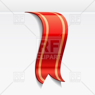 400x400 Red Ribbon Bookmark With Golden Stripes Royalty Free Vector Clip