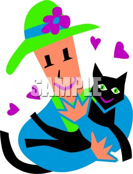 269x350 Cartoon Of A Woman Holding Her Beloved Cat