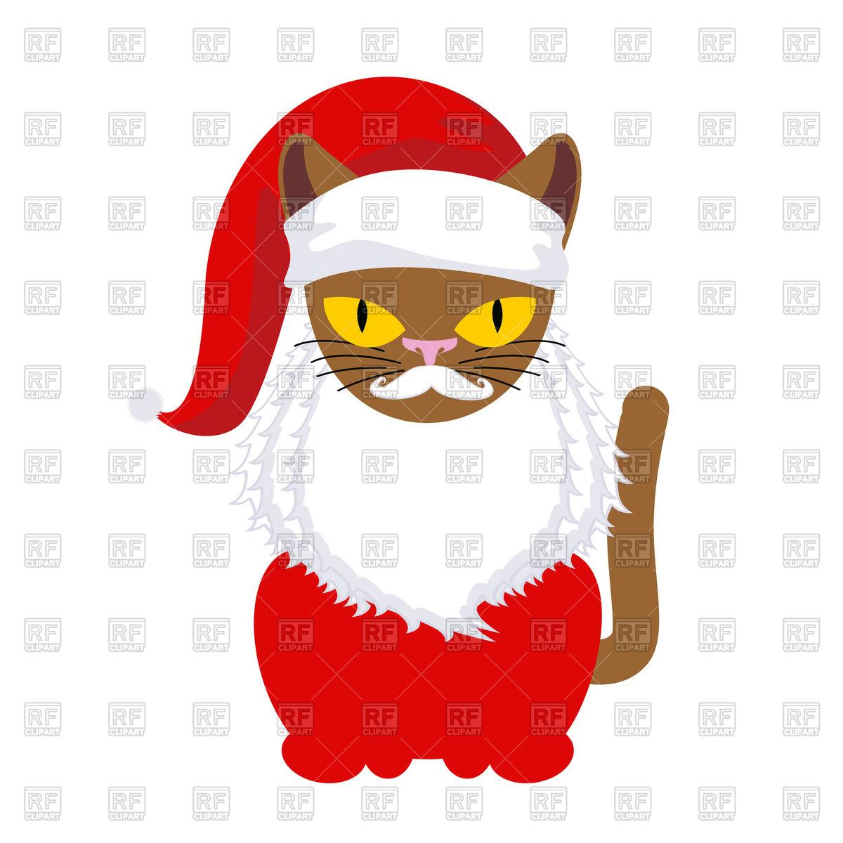 1200x1200 Cat Santa. Pet In Christmas Cap. Royalty Free Vector Clip Art