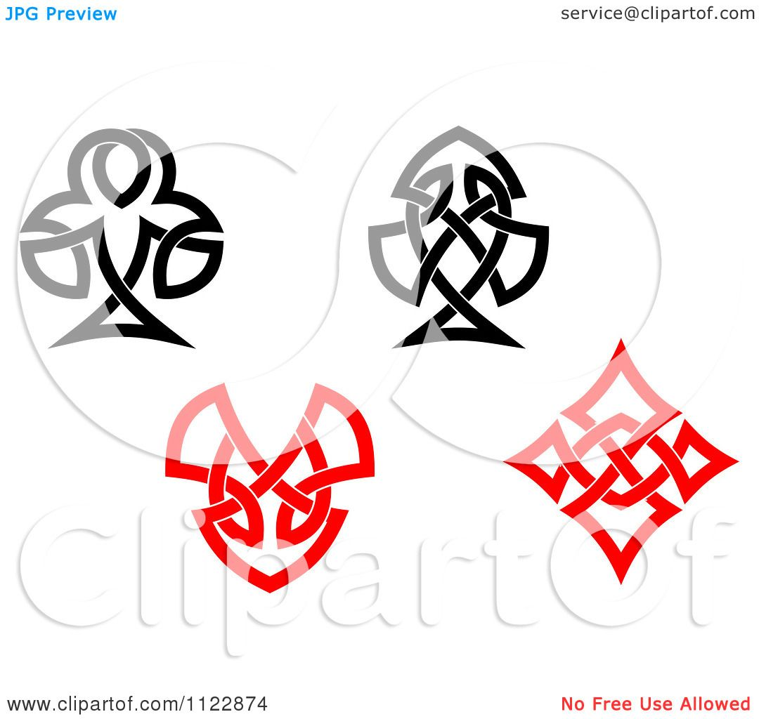 1080x1024 Clipart Of Celtic Knot Poker Playing Card Suite Symbols